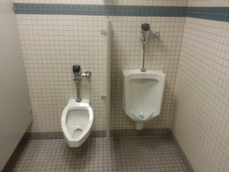 'Piss Twins' starring Danny DeVito urinal and Arnold Schwarzenegger urinal